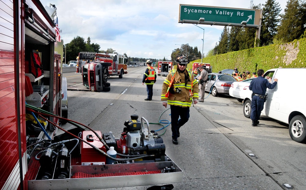 San Ramon Valley Fire responds to a traffic collision in a coordinated effort, managing both ambulance and fire/rescue resources.  (Photo: SRVFPD)